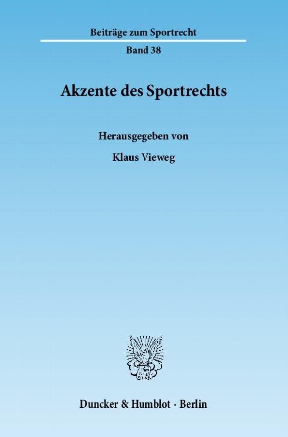 Cover Akzente des Sportrechts