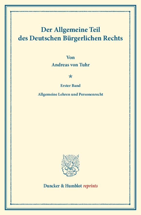 Cover Der Allgemeine Teil des Deutschen Bürgerlichen Rechts