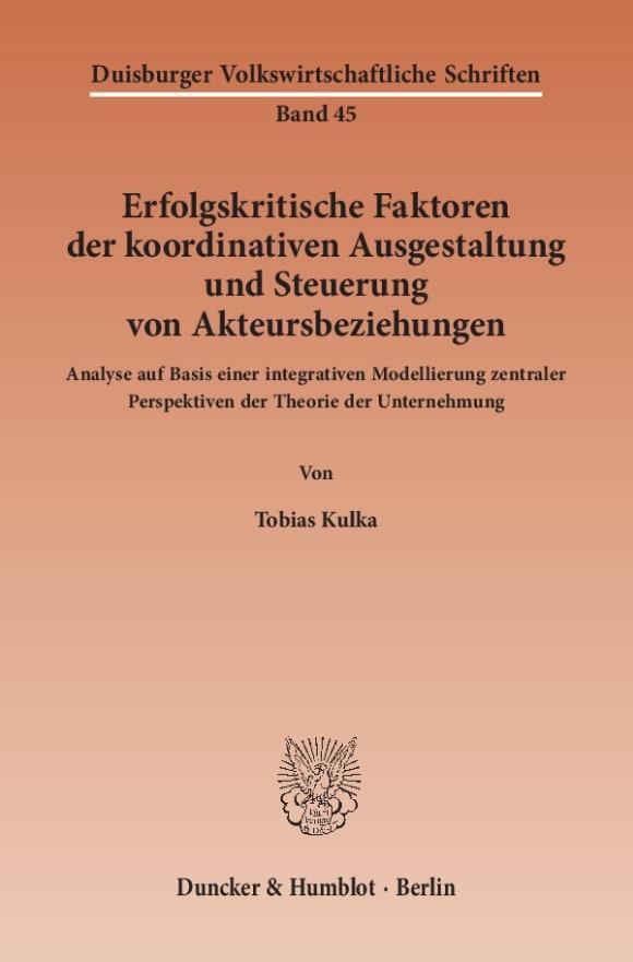 Cover Duisburger Volkswirtschaftliche Schriften (DVS)