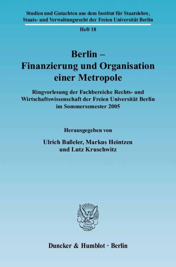 Cover Studien und Gutachten aus dem Institut für Staatslehre, Staats- und Verwaltungsrecht der Freien Universität Berlin (SSV)