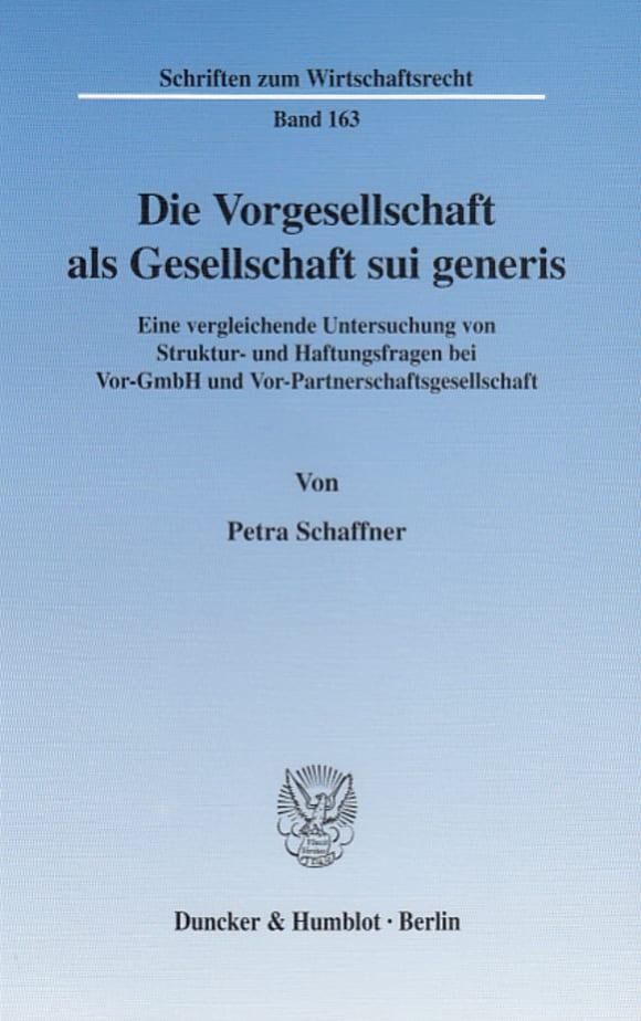 Cover Die Vorgesellschaft als Gesellschaft sui generis