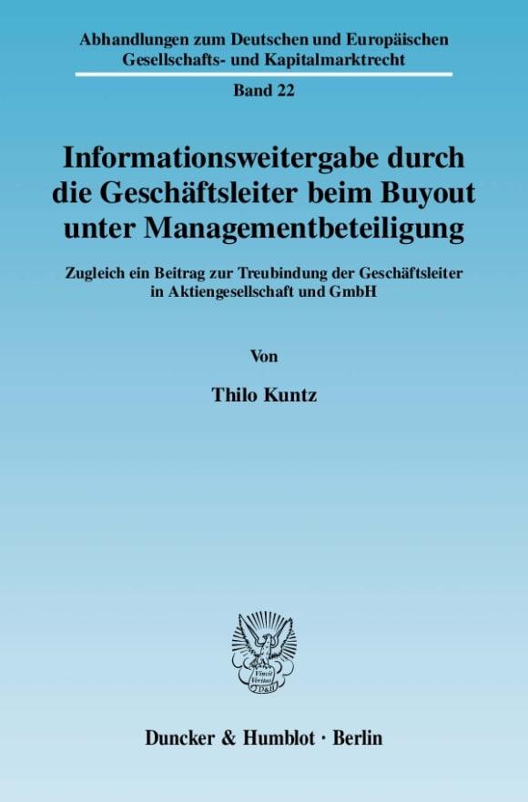 Cover Informationsweitergabe durch die Geschäftsleiter beim Buyout unter Managementbeteiligung