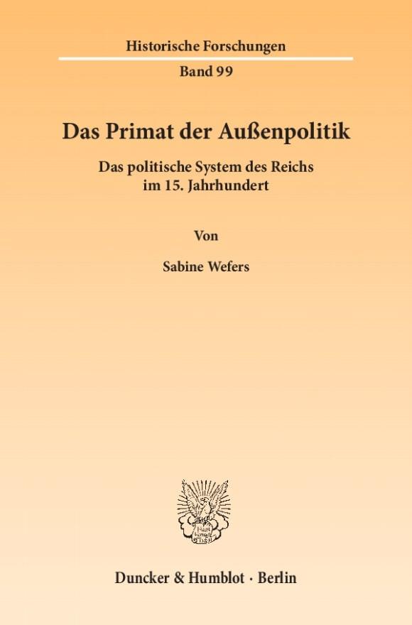 Cover Das Primat der Außenpolitik
