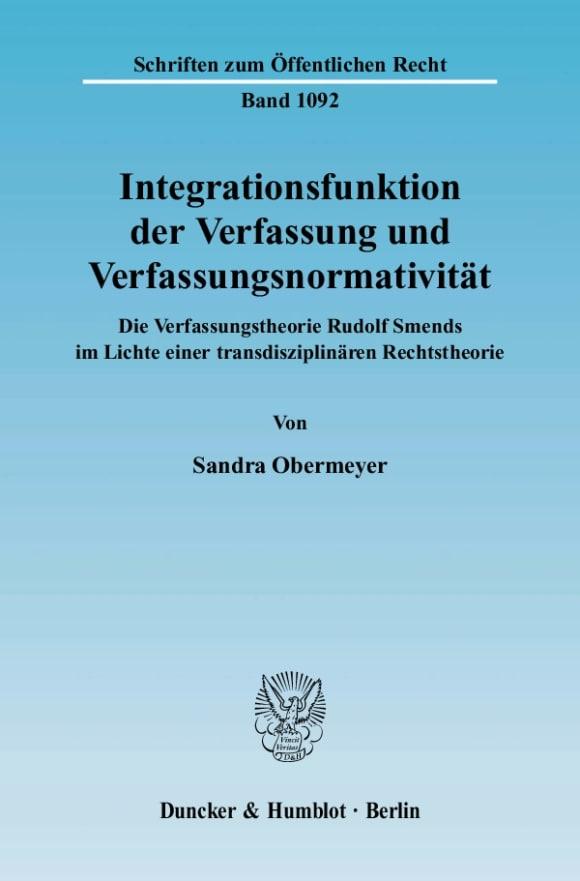 Cover Integrationsfunktion der Verfassung und Verfassungsnormativität