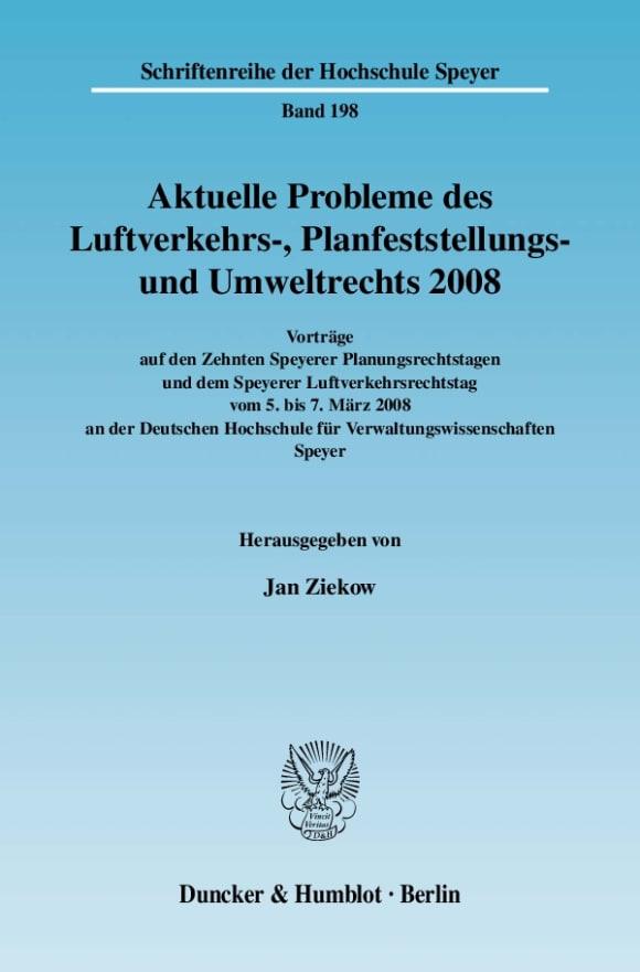 Cover Aktuelle Probleme des Luftverkehrs-, Planfeststellungs- und Umweltrechts 2008