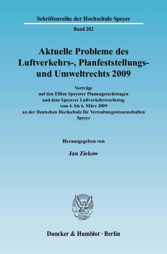Cover Aktuelle Probleme des Luftverkehrs-, Planfeststellungs- und Umweltrechts 2009