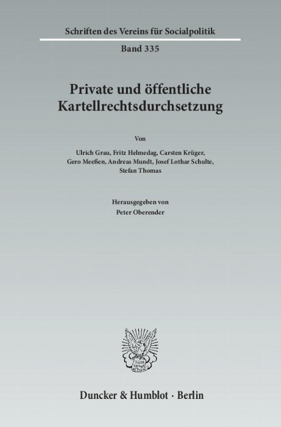 Cover Private und öffentliche Kartellrechtsdurchsetzung