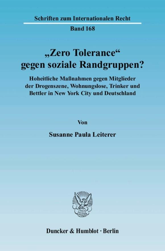 "Cover ""Zero Tolerance"" gegen soziale Randgruppen?"