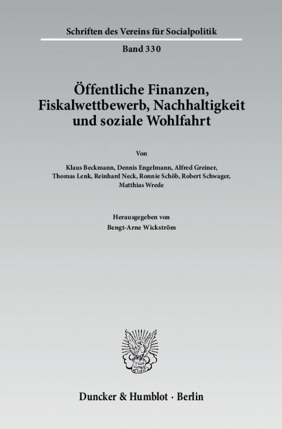 Cover Öffentliche Finanzen, Fiskalwettbewerb, Nachhaltigkeit und soziale Wohlfahrt