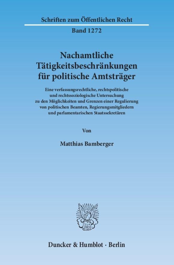 Cover Nachamtliche Tätigkeitsbeschränkungen für politische Amtsträger