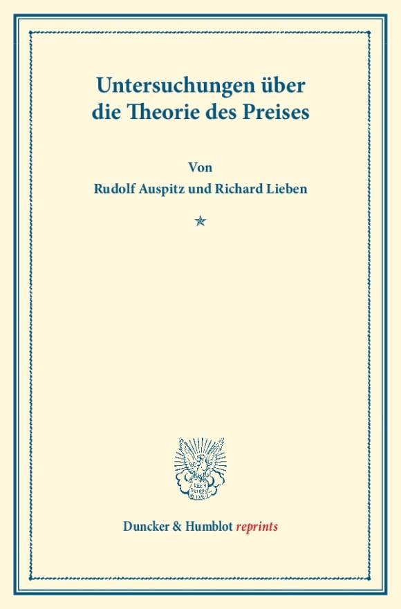Cover Untersuchungen über die Theorie des Preises