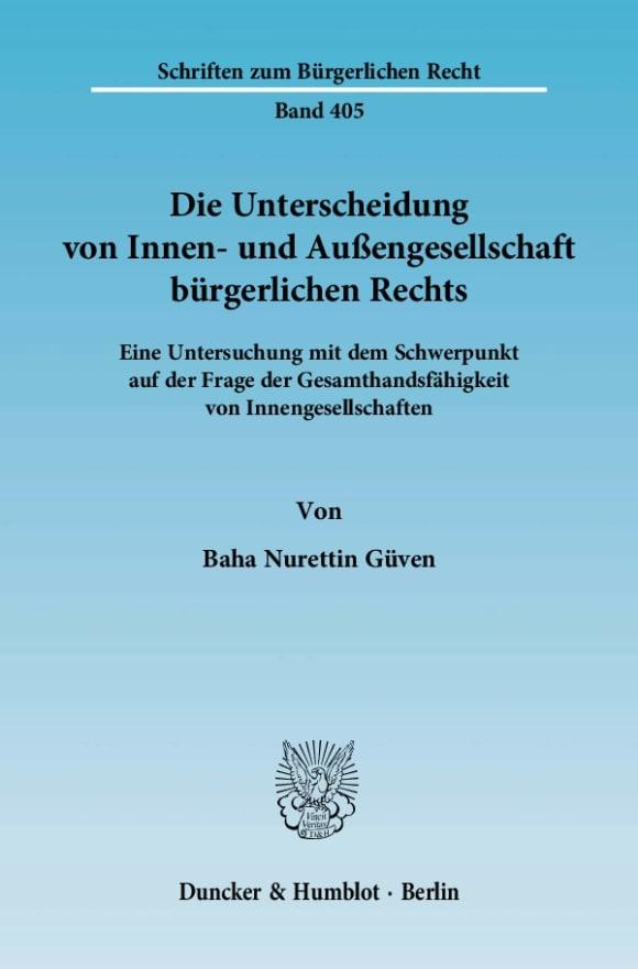 Cover Die Unterscheidung von Innen- und Außengesellschaft bürgerlichen Rechts