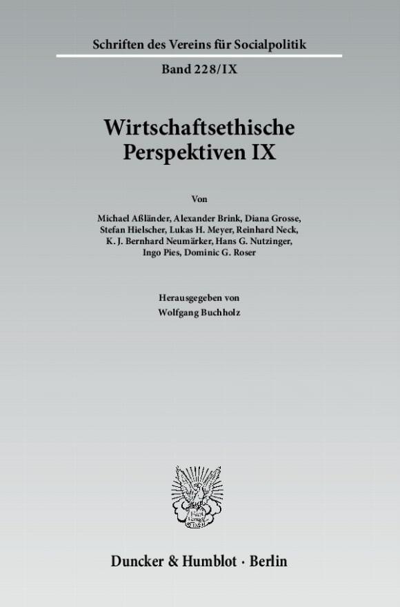 Cover Wirtschaftsethische Perspektiven IX