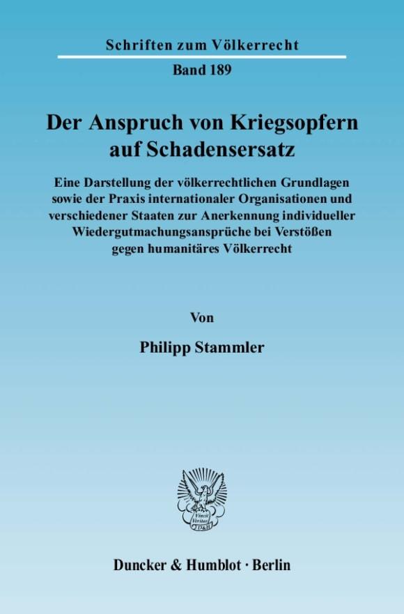 Cover Der Anspruch von Kriegsopfern auf Schadensersatz