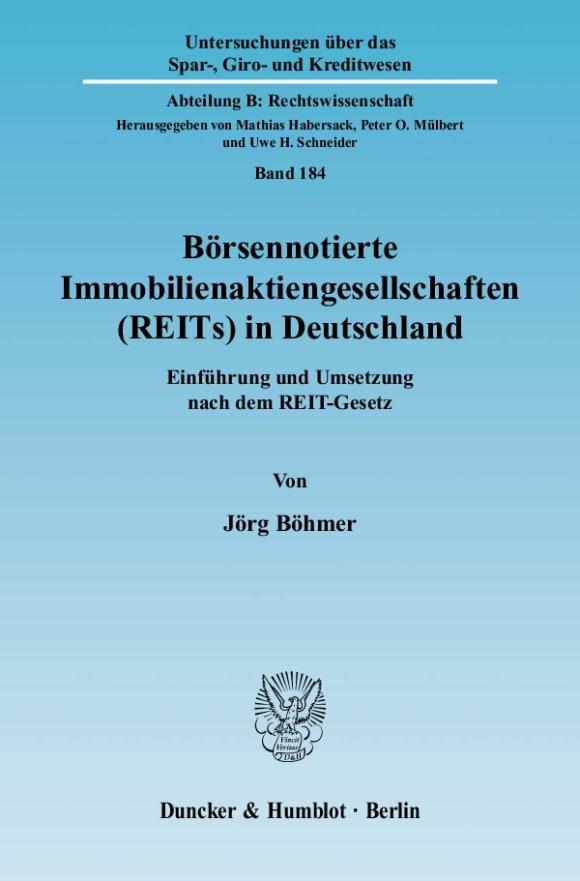 Cover Börsennotierte Immobilienaktiengesellschaften (REITs) in Deutschland
