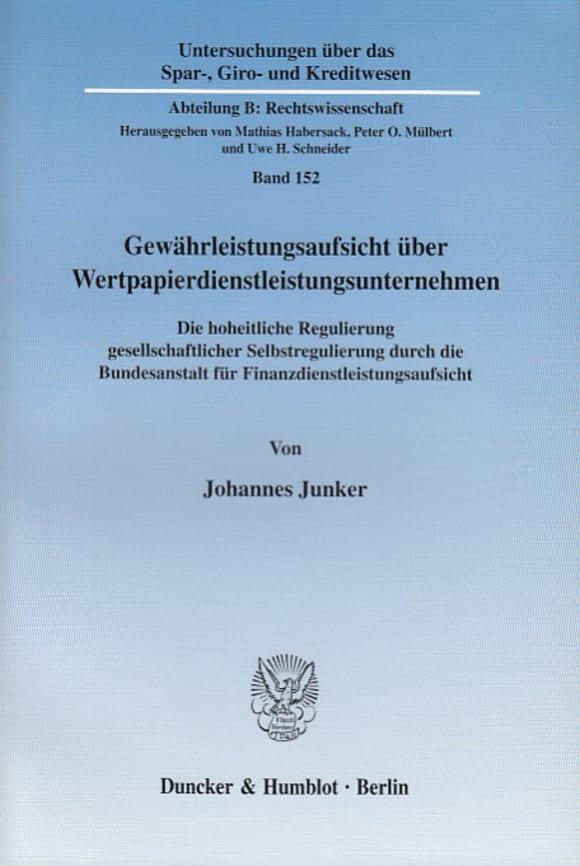 Cover Gewährleistungsaufsicht über Wertpapierdienstleistungsunternehmen