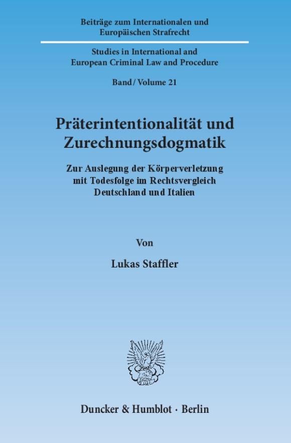 Cover Präterintentionalität und Zurechnungsdogmatik