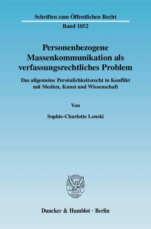 Cover Personenbezogene Massenkommunikation als verfassungsrechtliches Problem
