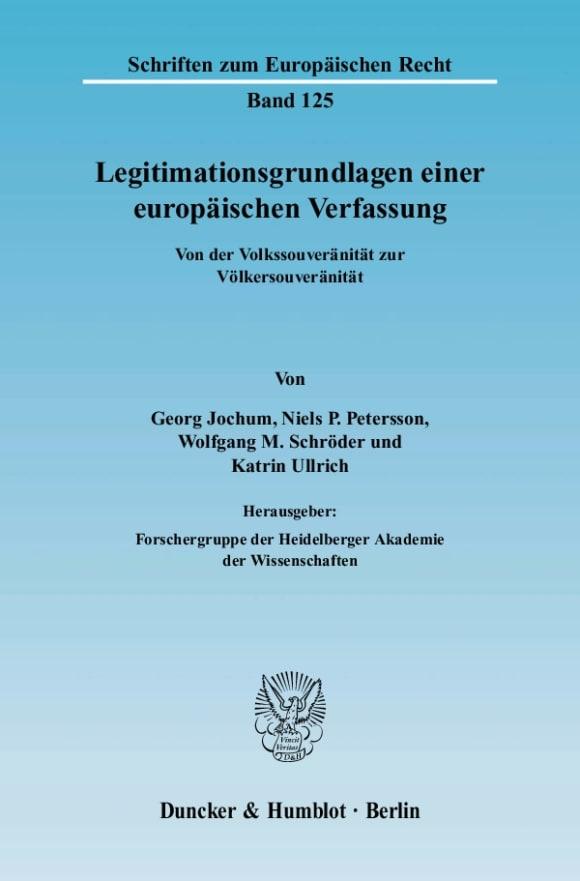 Cover Legitimationsgrundlagen einer europäischen Verfassung