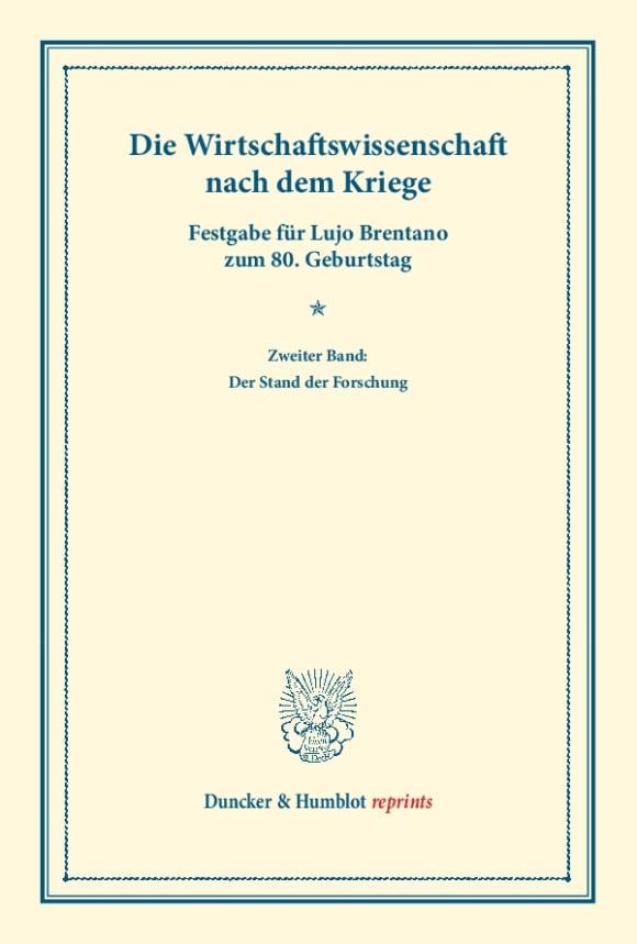 Cover Die Wirtschaftswissenschaft nach dem Kriege