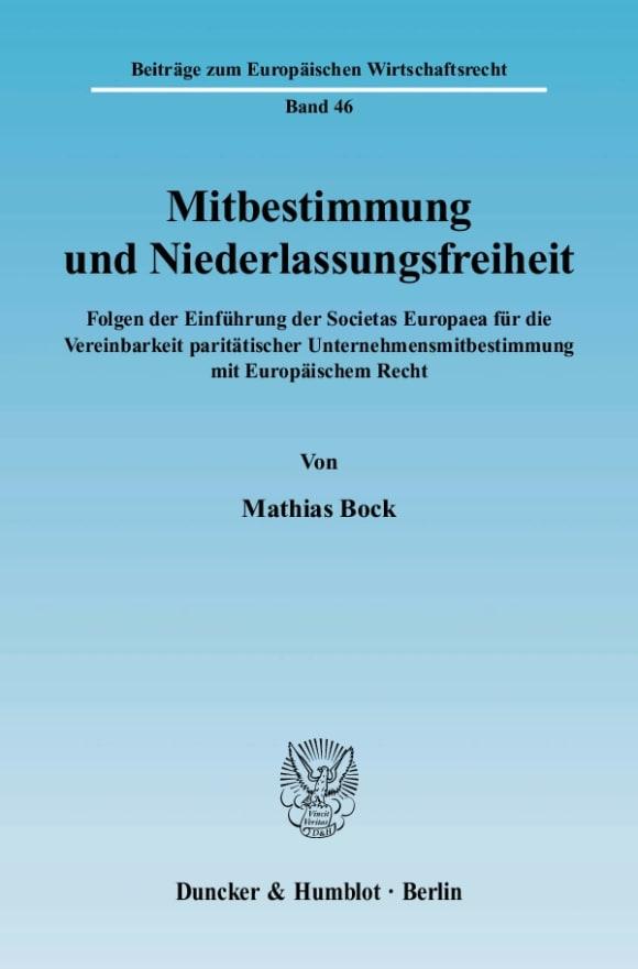 Cover Mitbestimmung und Niederlassungsfreiheit