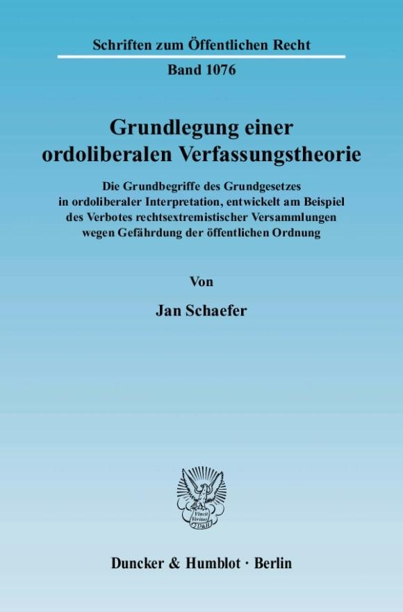 Cover Grundlegung einer ordoliberalen Verfassungstheorie