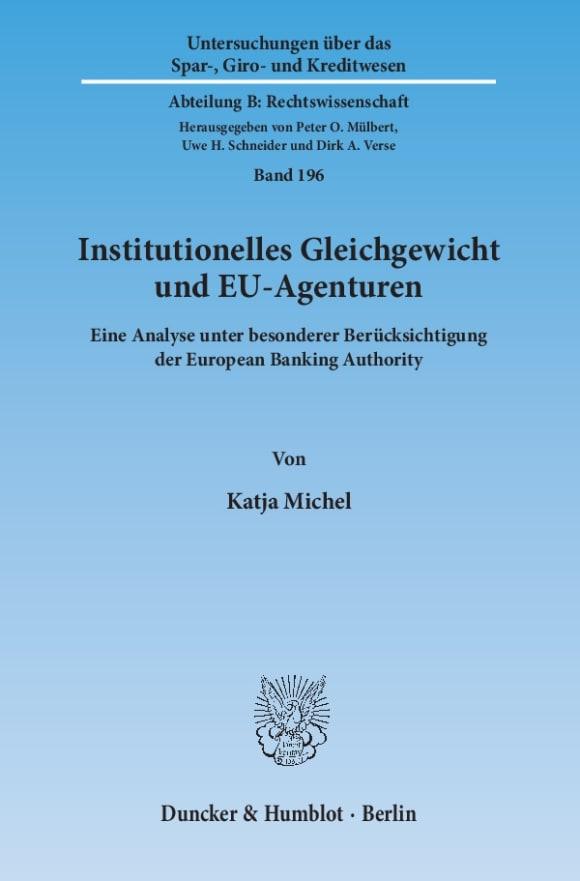 Cover Institutionelles Gleichgewicht und EU-Agenturen