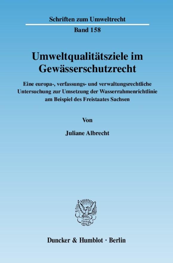 Cover Umweltqualitätsziele im Gewässerschutzrecht
