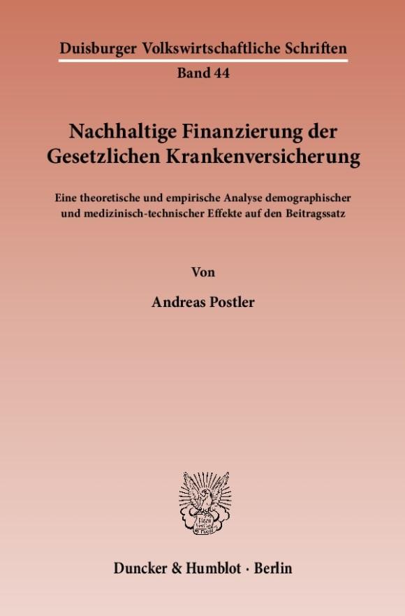 Cover Nachhaltige Finanzierung der Gesetzlichen Krankenversicherung