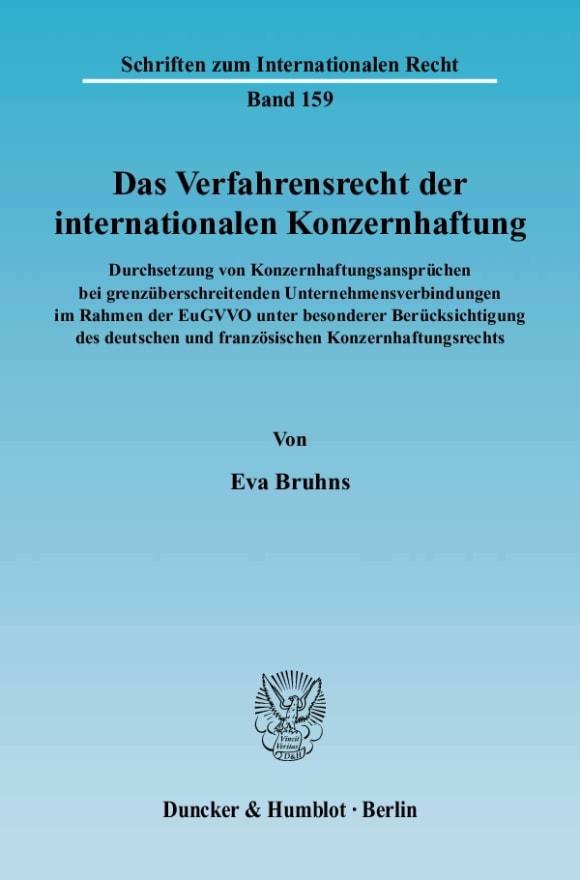 Cover Das Verfahrensrecht der internationalen Konzernhaftung