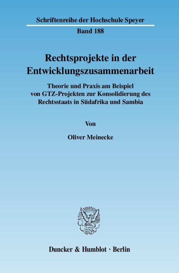 Cover Rechtsprojekte in der Entwicklungszusammenarbeit