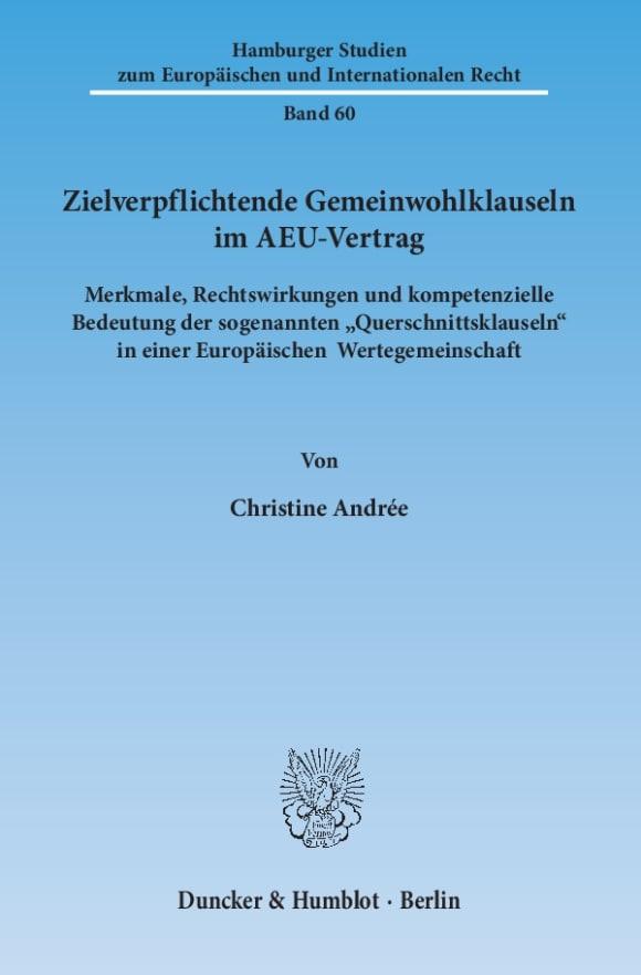 Cover Zielverpflichtende Gemeinwohlklauseln im AEU-Vertrag