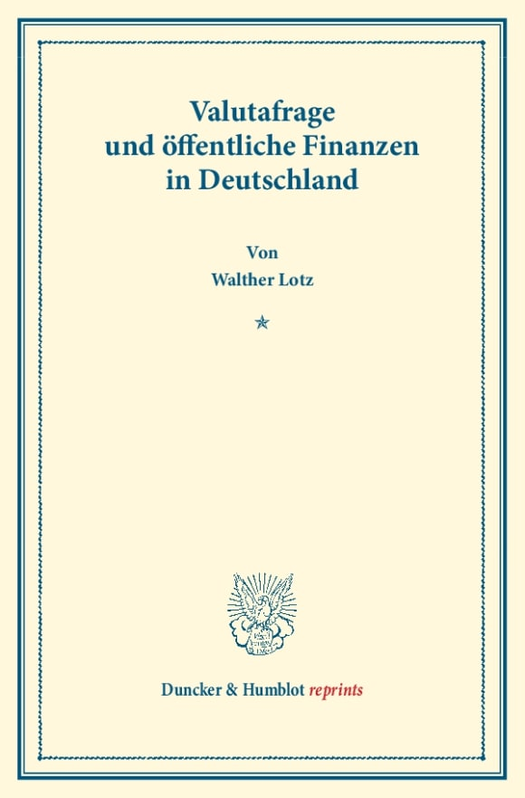 Cover Valutafrage und öffentliche Finanzen in Deutschland