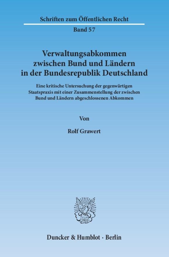 Cover Verwaltungsabkommen zwischen Bund und Ländern in der Bundesrepublik Deutschland