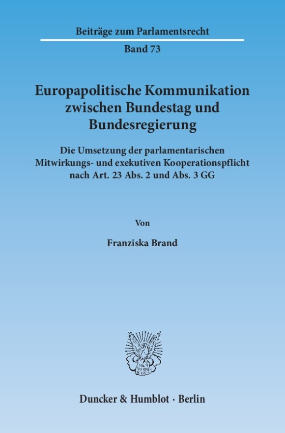 Cover Europapolitische Kommunikation zwischen Bundestag und Bundesregierung