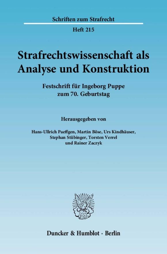 Cover Strafrechtswissenschaft als Analyse und Konstruktion