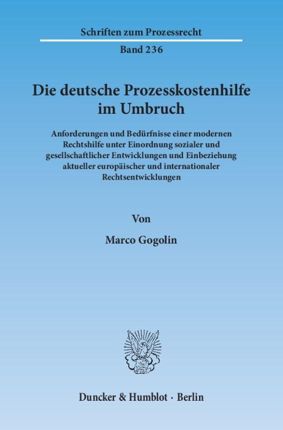 Cover Die deutsche Prozesskostenhilfe im Umbruch