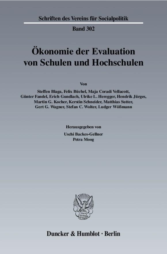 Cover Ökonomie der Evaluation von Schulen und Hochschulen