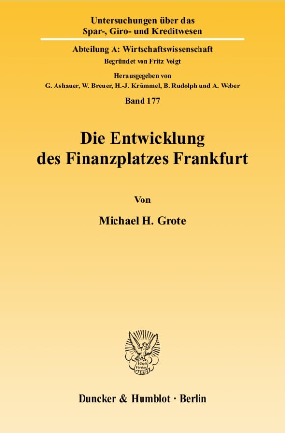 Cover Die Entwicklung des Finanzplatzes Frankfurt