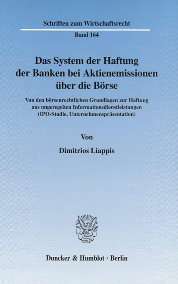 Cover Das System der Haftung der Banken bei Aktienemissionen über die Börse