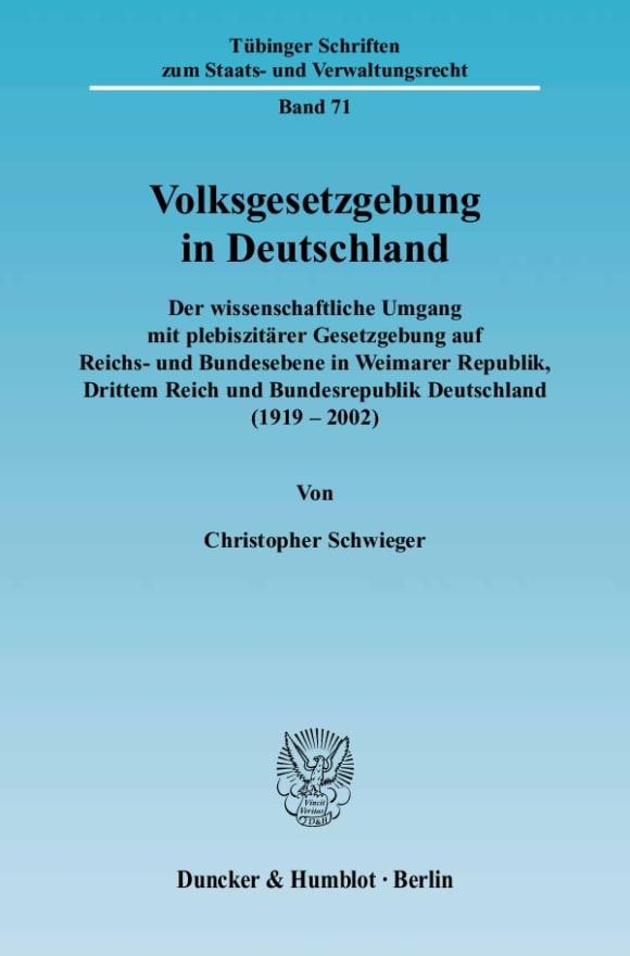 Cover Volksgesetzgebung in Deutschland