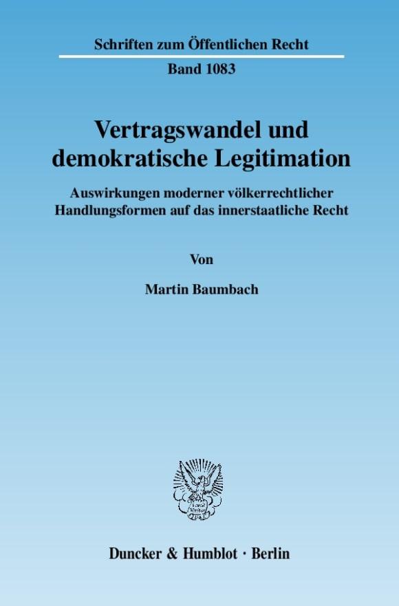 Cover Vertragswandel und demokratische Legitimation