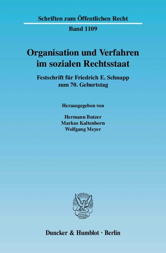 Cover Organisation und Verfahren im sozialen Rechtsstaat