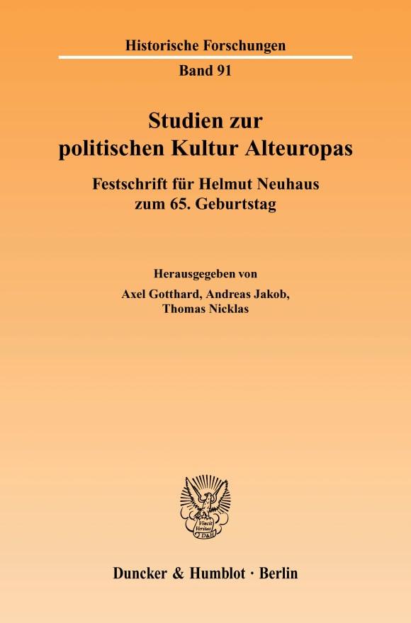 Cover Studien zur politischen Kultur Alteuropas