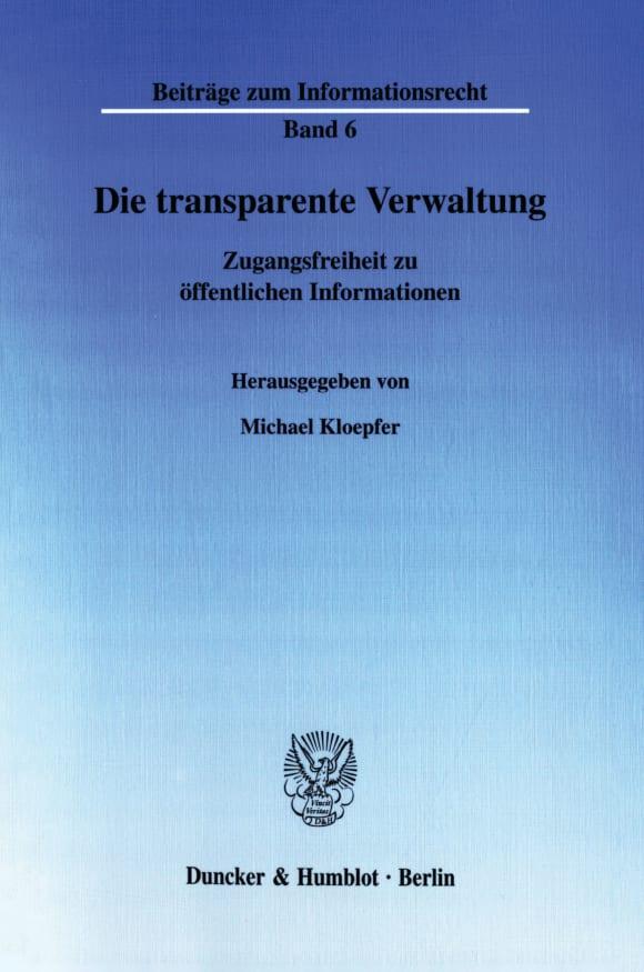Cover Die transparente Verwaltung