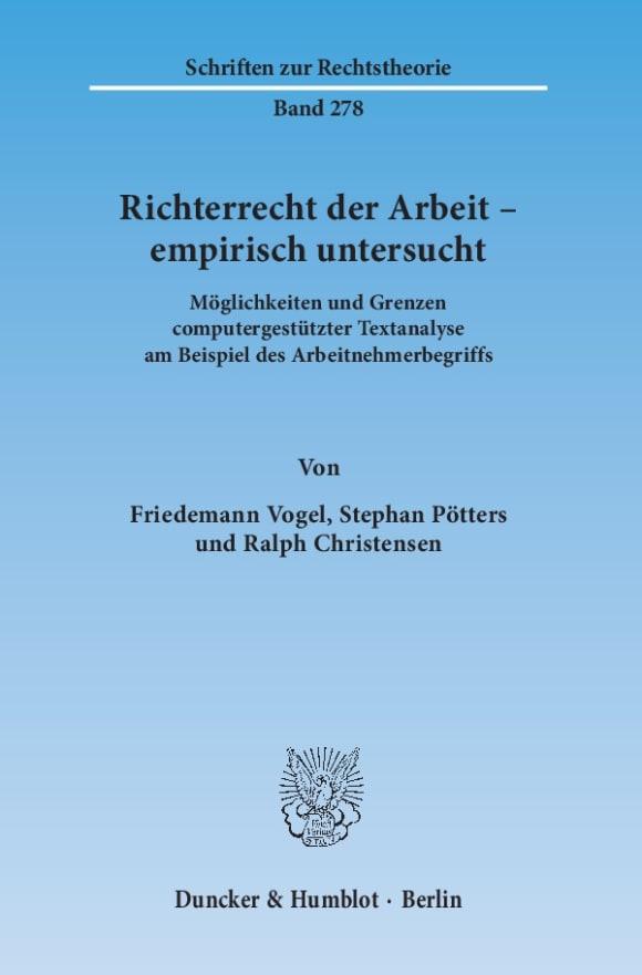 Cover Richterrecht der Arbeit – empirisch untersucht