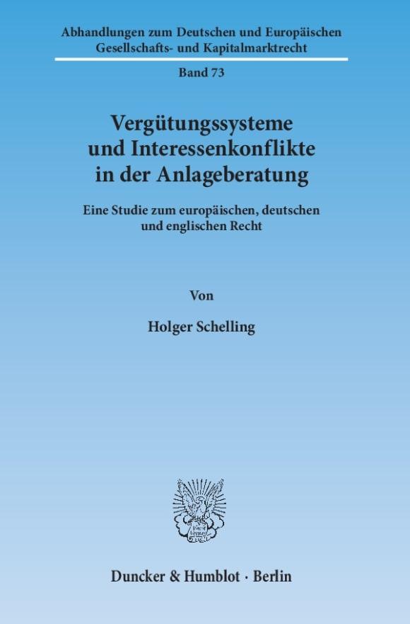 Cover Vergütungssysteme und Interessenkonflikte in der Anlageberatung