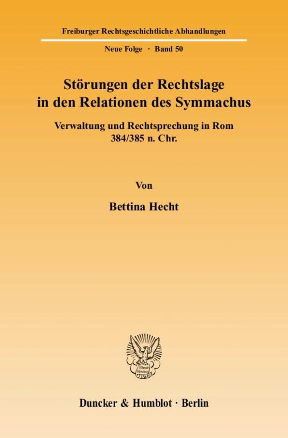 Cover Störungen der Rechtslage in den Relationen des Symmachus