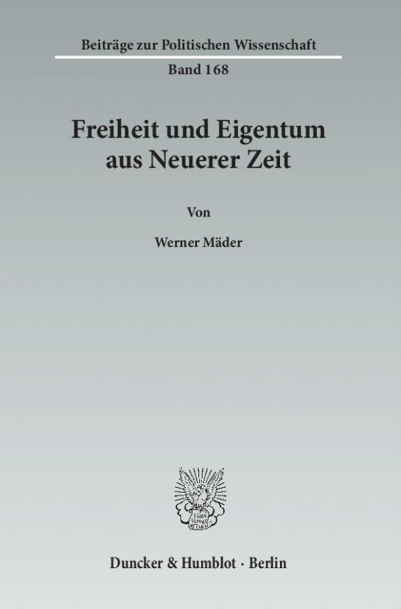 Cover Freiheit und Eigentum aus Neuerer Zeit