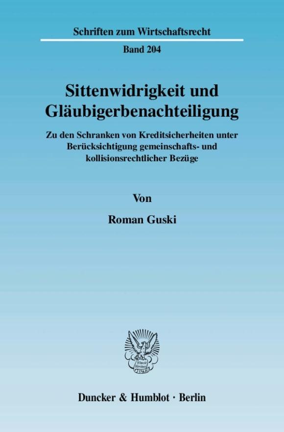 Cover Sittenwidrigkeit und Gläubigerbenachteiligung